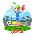 soccer or football field with fan celebrating goal vector image