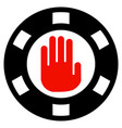 stop gambling chip flat icon vector image