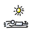 sunbathing stick figure person tanning on vector image vector image