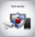 theft identity protection bug virus mobile camera vector image vector image