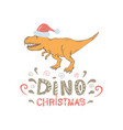 tyrannosaurus with santa hat isolated vector image