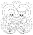 valentine day black and white poster with an owl vector image vector image