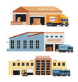 warehouse building industrial construction and vector image vector image