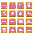 water icons pink vector image vector image