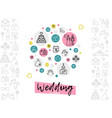 wedding line icons concept vector image vector image