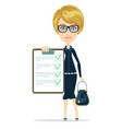 woman show with the clipboard vector image vector image