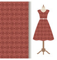 women dress fabric with brown pattern vector image vector image