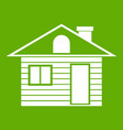 wooden log house icon green vector image vector image