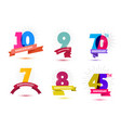 set of anniversary numbers design 10 9 vector image