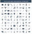 100 musical icons vector image vector image