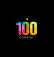 100 number grunge color rainbow numeral digit logo vector image vector image