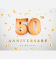 50 anniversary gold wooden numbers with golden vector image