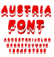 Austria font Austrian flag on letters National vector image vector image