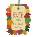 autumn seasonal sale beige price tag hanging from vector image