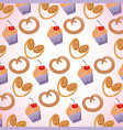 background sweet pastry pretzel cupcakes vector image