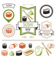 Badges and labels set with various sushi vector image vector image