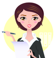 Beautiful Business woman with pen vector image vector image