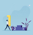 businessmen walking to podium and holding number vector image vector image