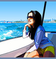 cartoon woman rides on a boat on the sea along vector image vector image