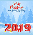christmas landscape background with snow and tree vector image vector image