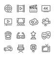 cinema line icons set monochrome vector image vector image