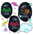 colorful icons portrait monkey mask gorilla and vector image