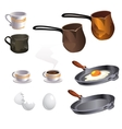Cooking eggs and coffee big set items vector image