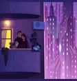 couple resting on apartment balcony cartoon vector image