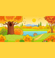 cute hare running through autumn forest vector image