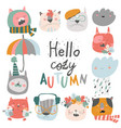 cute muzzles cats with autumn elements hello vector image vector image