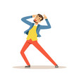 dancing and singing man having fun during vector image vector image
