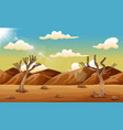 desert landscape with dry tree and mountain vector image