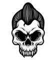 detailed classic gentlemen rockabilly skull head vector image vector image