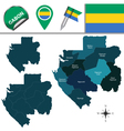 Gabon map with named divisions vector image vector image