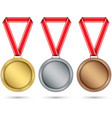 gold silver and bronze medals medal set with red vector image vector image