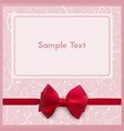 greeting card with red bow invitation to the vector image