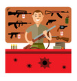 gun shop flat style colorful cartoon vector image vector image