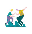 guys giving five to each other male characters vector image vector image