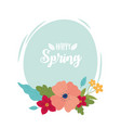 happy spring lettering flowers foliage round vector image
