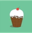 ice cream with cherry vector image