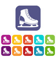 ice skate icons set vector image vector image
