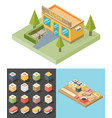 isometric sushi restaurant cafe building icon vector image vector image