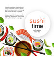 japanese sushi restaurant template with rolls and vector image vector image