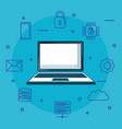 laptop with internet security icons vector image vector image