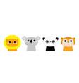 lion panda bear koala tiger round head face icon vector image vector image