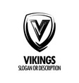 logo with vikings medieval shield isolated vector image vector image