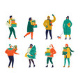 merry christmas greeting card with people walking vector image