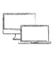 monitor and laptop mockup gadget blank screen vector image