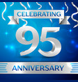 ninety five years anniversary celebration design vector image vector image