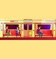 people in subway train vector image vector image